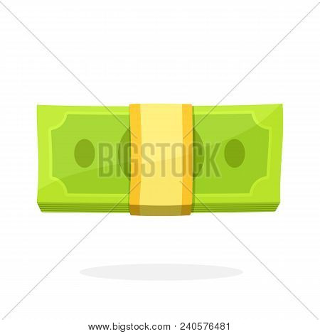 Vector Illustration In Flat  Style. The Bundle Of Paper Money. View Directly From The Front. Banknot