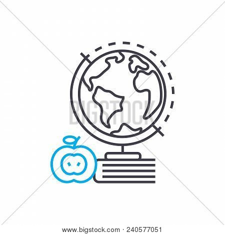 Geography Vector Thin Line Stroke Icon. Geography Outline Illustration, Linear Sign, Symbol Isolated