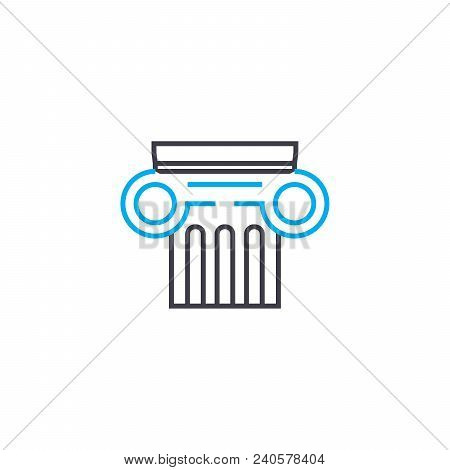 Historical Architecture Vector Thin Line Stroke Icon. Historical Architecture Outline Illustration,