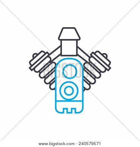 Injection System Vector Thin Line Stroke Icon. Injection System Outline Illustration, Linear Sign, S