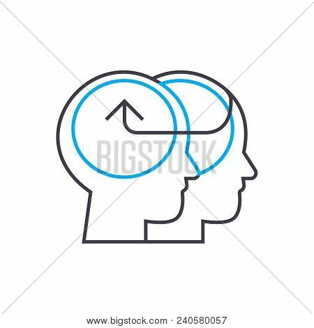 Knowledge Sharing Vector Thin Line Stroke Icon. Knowledge Sharing Outline Illustration, Linear Sign,
