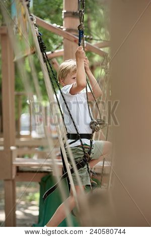 Active Brave Boy Climbing At Treetop Adventure Park