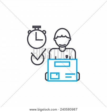 Manager Logist Vector Thin Line Stroke Icon. Manager Logist Outline Illustration, Linear Sign, Symbo