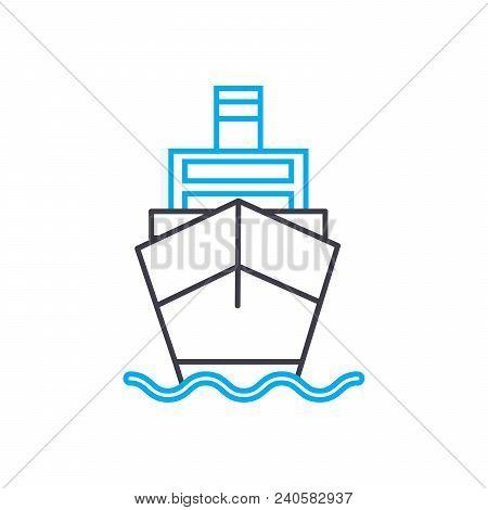 Motor Vessel Vector Thin Line Stroke Icon. Motor Vessel Outline Illustration, Linear Sign, Symbol Is