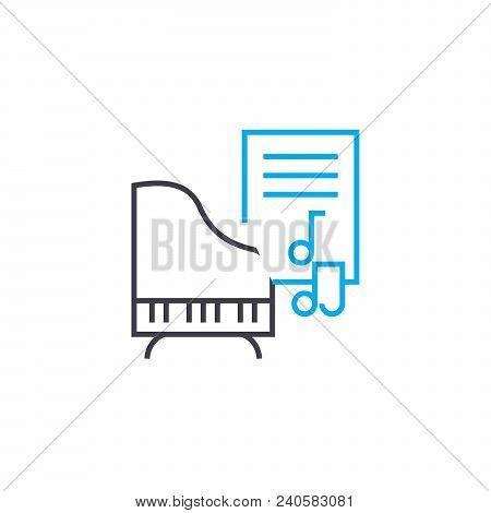 Music Lessons Vector Thin Line Stroke Icon. Music Lessons Outline Illustration, Linear Sign, Symbol