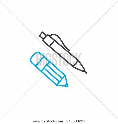 Office Stationery Vector Thin Line Stroke Icon. Office Stationery Outline Illustration, Linear Sign,