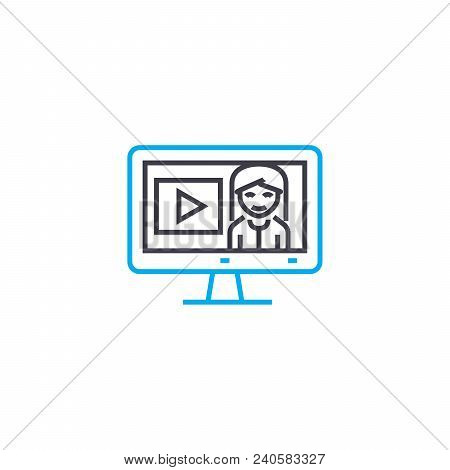 Online Seminars Vector Thin Line Stroke Icon. Online Seminars Outline Illustration, Linear Sign, Sym