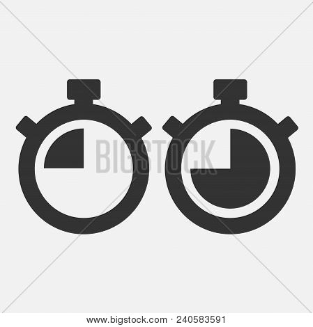 Stopwatch Vector Icon On Gray Background. Fourty Five Seconds. Eps 10 Vector.