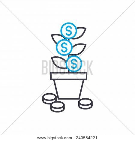 Profit Growth Vector Thin Line Stroke Icon. Profit Growth Outline Illustration, Linear Sign, Symbol