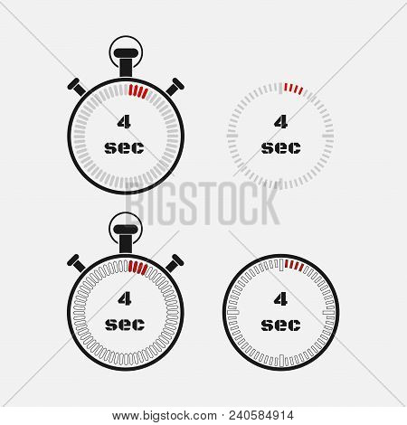 Timer 4 Seconds On Gray Background . Stopwatch Icon Set. Timer Icon. Time Check. Seconds Timer, Seco