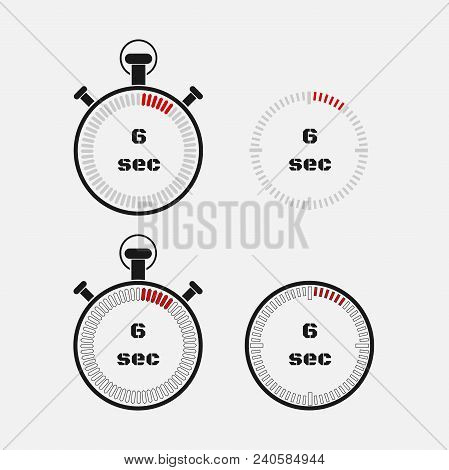 Timer 6 Seconds On Gray Background . Stopwatch Icon Set. Timer Icon. Time Check. Seconds Timer, Seco