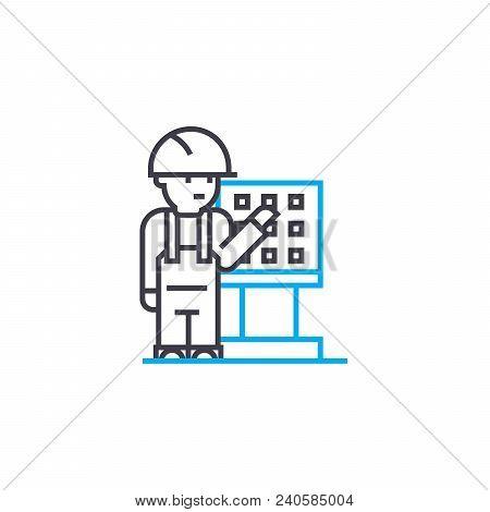 Remote Control Worker Vector Thin Line Stroke Icon. Remote Control Worker Outline Illustration, Line