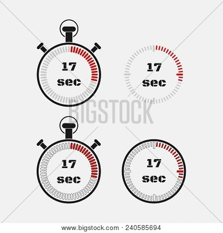 Timer 17 Seconds On Gray Background . Stopwatch Icon Set. Timer Icon. Time Check. Seconds Timer, Sec