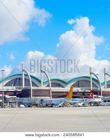 Istanbul, Turkey - May 23, 2017: Exterior Of The Sabiha Gokcen International Airport (saw) In Istanb