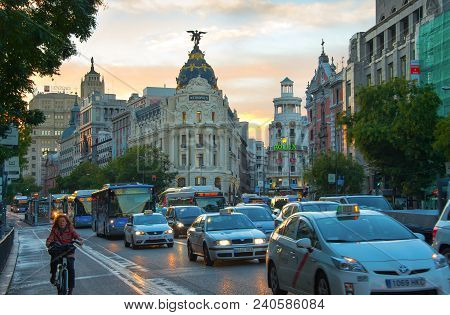 Madrid, Spain - November 07, 2016: Traffic On Madrid City Center Road At Sunset. Madrid Is The Capit