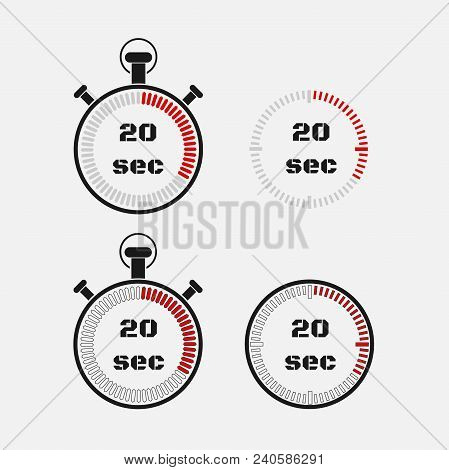 Timer 20 Seconds On Gray Background . Stopwatch Icon Set. Timer Icon. Time Check. Seconds Timer, Sec