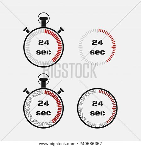 Timer 24 Seconds On Gray Background . Stopwatch Icon Set. Timer Icon. Time Check. Seconds Timer, Sec