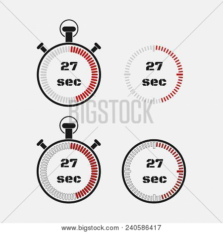 Timer 27 Seconds On Gray Background . Stopwatch Icon Set. Timer Icon. Time Check. Seconds Timer, Sec