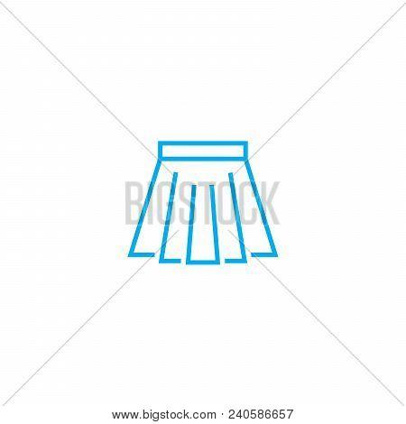 Short Skirt Vector Thin Line Stroke Icon. Short Skirt Outline Illustration, Linear Sign, Symbol Isol