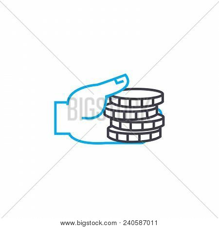 Small Funds Vector Thin Line Stroke Icon. Small Funds Outline Illustration, Linear Sign, Symbol Isol