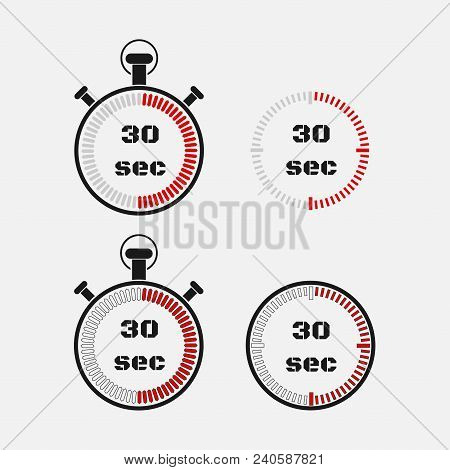 Timer 30 Seconds On Gray Background . Stopwatch Icon Set. Timer Icon. Time Check. Seconds Timer, Sec