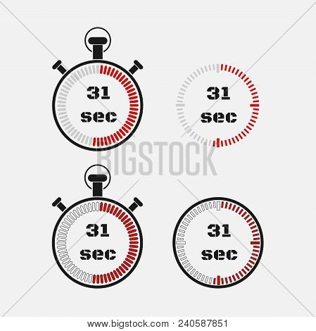 Timer 31 Seconds On Gray Background . Stopwatch Icon Set. Timer Icon. Time Check. Seconds Timer, Sec