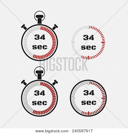 Timer 34 Seconds On Gray Background . Stopwatch Icon Set. Timer Icon. Time Check. Seconds Timer, Sec