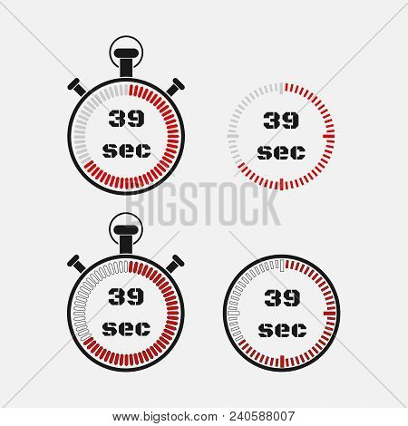 Timer 39 Seconds On Gray Background . Stopwatch Icon Set. Timer Icon. Time Check. Seconds Timer, Sec