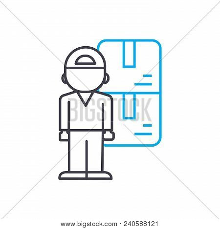 Store Keeper Vector Thin Line Stroke Icon. Store Keeper Outline Illustration, Linear Sign, Symbol Is