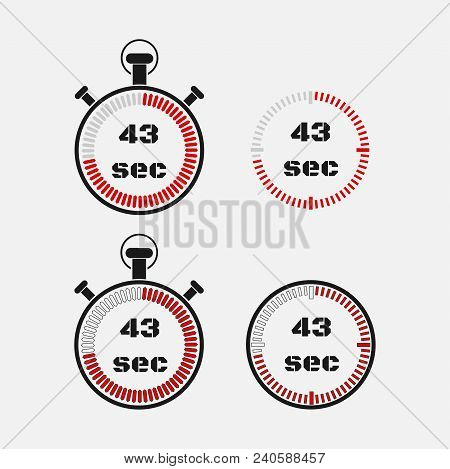 Timer 43 Seconds On Gray Background . Stopwatch Icon Set. Timer Icon. Time Check. Seconds Timer, Sec