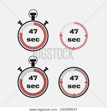 Timer 47 Seconds On Gray Background . Stopwatch Icon Set. Timer Icon. Time Check. Seconds Timer, Sec
