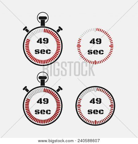 Timer 49 Seconds On Gray Background . Stopwatch Icon Set. Timer Icon. Time Check. Seconds Timer, Sec