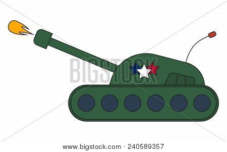 War Battle Tank Shooting Projectile Side View, Vector Illustration Cartoon, Eps8