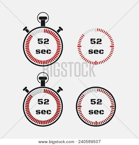 Timer 52 Seconds On Gray Background . Stopwatch Icon Set. Timer Icon. Time Check. Seconds Timer, Sec