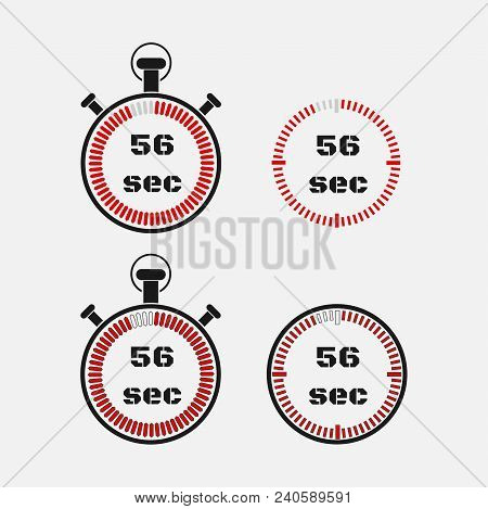 Timer 56 Seconds On Gray Background . Stopwatch Icon Set. Timer Icon. Time Check. Seconds Timer, Sec