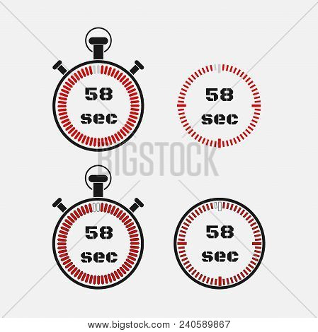 Timer 58 Seconds On Gray Background . Stopwatch Icon Set. Timer Icon. Time Check. Seconds Timer, Sec
