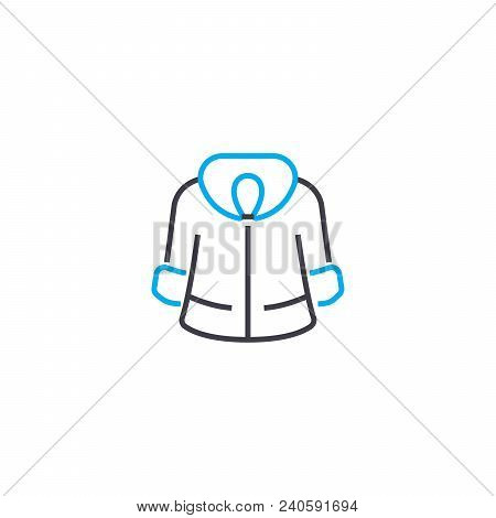 Winter Fur Coat Vector Thin Line Stroke Icon. Winter Fur Coat Outline Illustration, Linear Sign, Sym