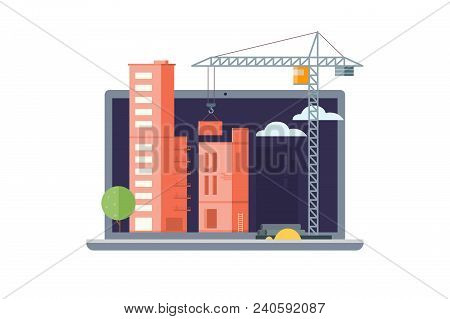 Illustration Showing Construction Site, Multi-storey Buildings Under Construction, Construction Cran