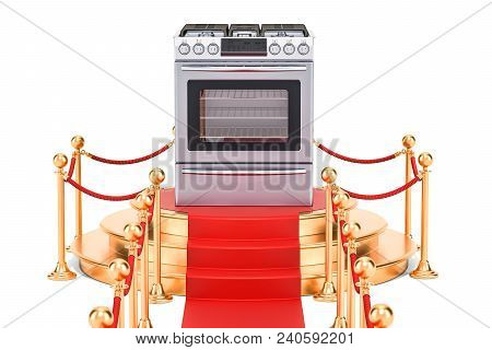 Podium With Gas Stove, 3d Rendering Isolated On White Background