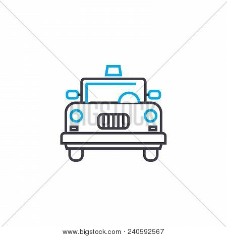 Yellow Cab Vector Thin Line Stroke Icon. Yellow Cab Outline Illustration, Linear Sign, Symbol Isolat