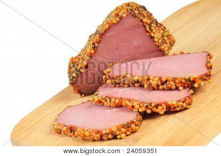 Piece of a ham with spices