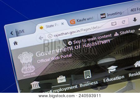 Ryazan, Russia - May 13, 2018: Rajastan Website On The Display Of Pc, Url - Rajastan.gov.in
