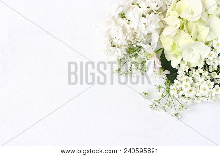 Styled Stock Photo. Decorative Floral Composition. Wild Wedding Or Birthday Bouquet Of Blossoming Wh