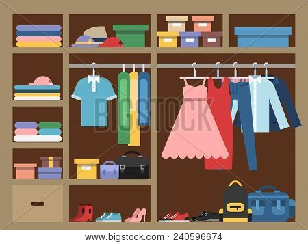 Large Wardrobe With Different Clothes. Vector Illustration In Flat Style. Closet With Clothing Fashi