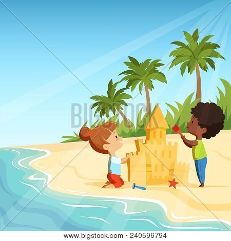 Summer Beach And Funny Happy Kids Playing With Sand Castles. Sandcastle Building, Activity Game Vect