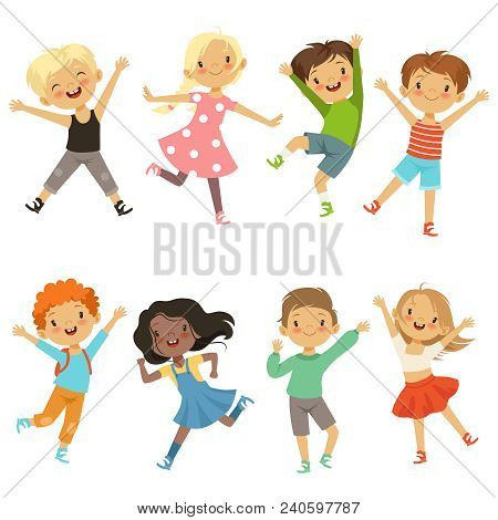Active Kids In Different Action Poses. Vector Illustrations. Young Boy And Girl Happiness, Active Ju