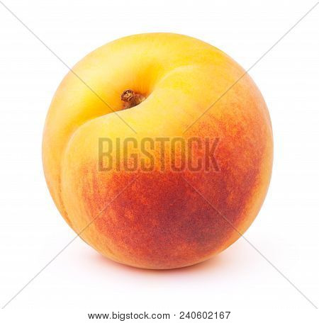 Fresh Red And Yellow Peach Fruit Isolated On The White Background With Clipping Path. One Of The Bes