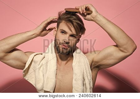 Morning Routine Concept. Macho With Bath Towel On Sexy Chest. Beauty, Grooming, Hygiene. Haircare, W