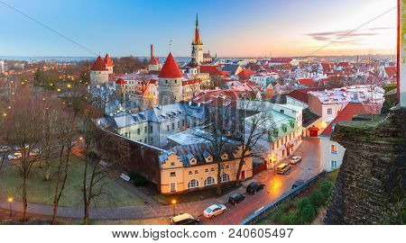 Aerial Panoramic Cityscape With Medieval Old Town, St. Olaf Baptist Church And Tallinn City Wall In