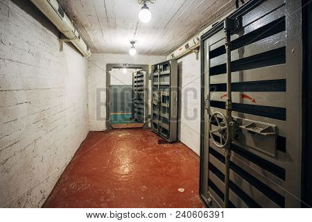 Hermetic Metal Armored Doors With Valves In Tambour Portal Gateway, Entrance Of Soviet Bomb Shelter